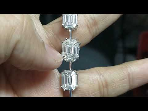 Single Line Emerald Pie Cut Diamond Bracelet Cum Necklace