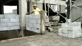 AAC BLOCK WORK # AMAZING CONSTRUCTION # LAYING AAC BLOCK WORK PROCEDURE