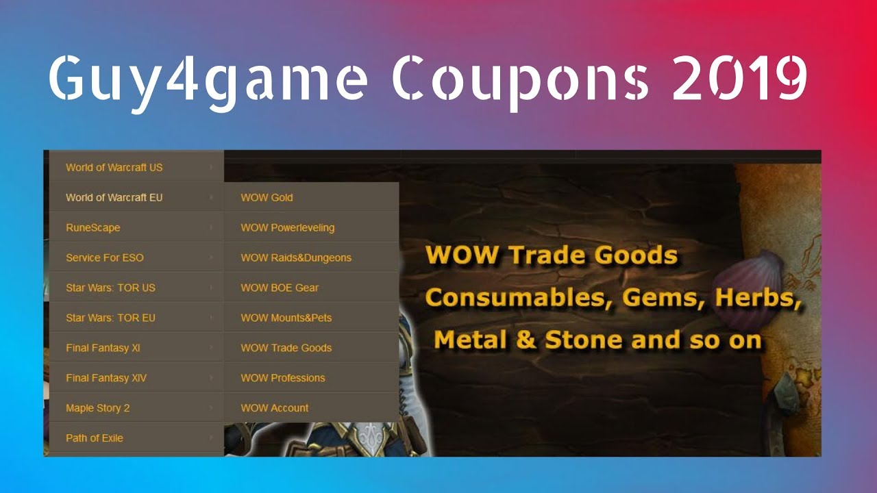 Guy4game Coupon Code WoW Gold 2019, Guy4game Discount Codes RS Gold