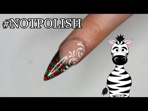 Simple & Elegant Christmas Stripes and Filigree Acrylic Nail Art Tutorial thumbnail