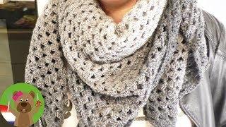 XXL doek haken | Supermooie sjaal van één bol wol | Rico Design wol degrade