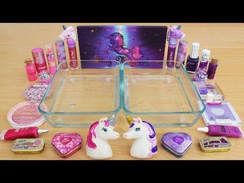 Pink vs Purple - Mixing Makeup Eyeshadow Into Slime Special Series 225 Satisfying Slime Video
