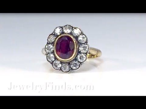Antique Ruby and Diamond Halo Ring Circa 1915 Ring 18k Yellow Gold Sterling Silver