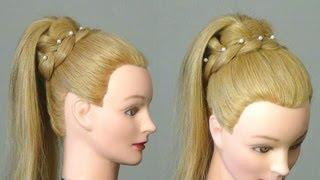 Прическа.: Хвост с ажурной косой. Easy  braided hairstyle for long hair(Подписывайтесь на канал на ютубе http://www.youtube.com/user/womenbeauty1 Группа ВКОНТАКТЕ http://vk.com/club37040135 Twitter https://twitter.com/#!, 2012-08-14T18:35:22.000Z)