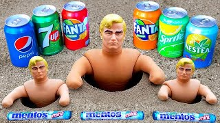 Experiment !! Stretch Armstrong VS Cola Water Balloons, Fanta, Pepsi, Slime and Mentos in Toilet