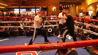 SPEED & POWER !!! - DAVID LEMIEUX PAD WORKOUT OUT @ MGM GRAND AHEAD OF GLEN TAPIA CLASH