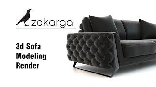 3d Sofa Modeling I Render I www.zakarga.com