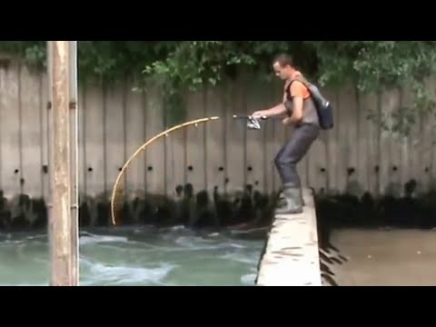 CRAZY MAN FIGHT BIG CATFISH OVER A DAM IN A STRONG RIVER CURRENT - HD by CATFISH WORLD