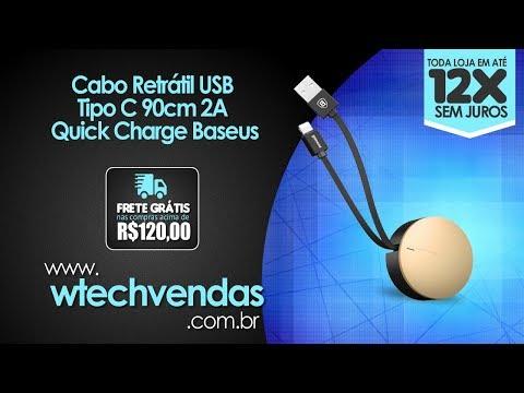 Cabo Retrátil USB Tipo C 90cm 2A Quick Charge Baseus Wtechvendas