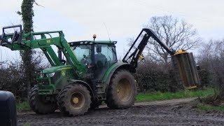 Hedge Cutting with John Deere 6120R & McConnel & cutting into the darkness