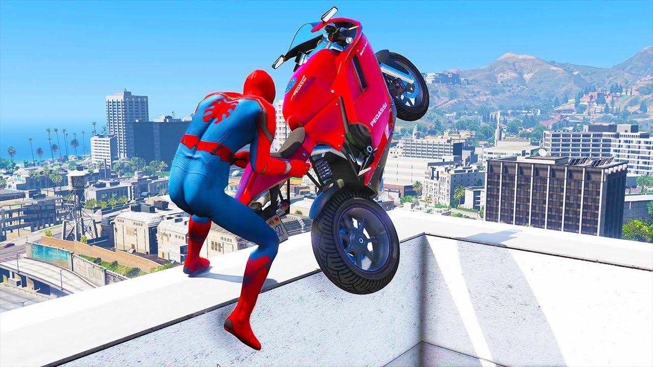GTA 5 Spiderman Epic Jumps #5 ( Spider-Man Stunts & Fails )