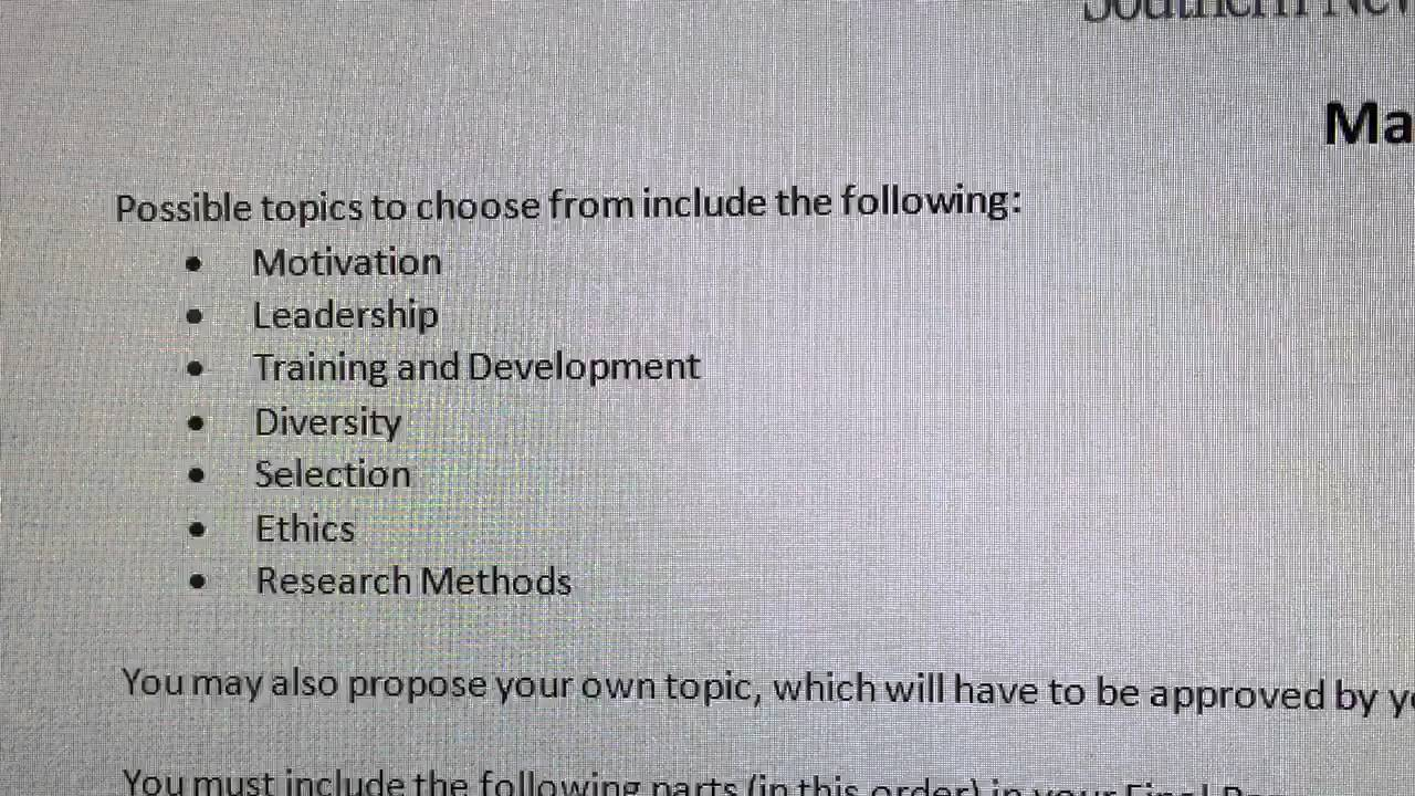 final project topics in industrial and organizational psychology final project topics in industrial and organizational psychology at southern new hampshire universi