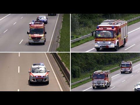 [Schwerer Verkehrsunfall auf A67] Rüstzug Freiwillige Feuerwehr Viernheim & NEF DRK 27/82-2