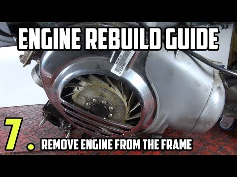 Remove the engine from the frame - Vespa LML Engine rebuild tutorial Part 7