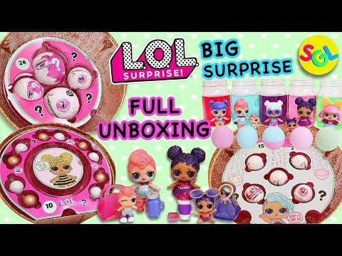 LOL Big Surprise Dolls Full Complete Unboxing: 50 Surprises Big Sis Little Sis Charm Fizz SGL