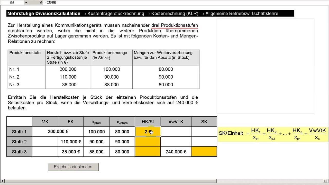 Mehrstufige Divisionskalkulation Kostenrechnung Kalkulationsverfahren Youtube