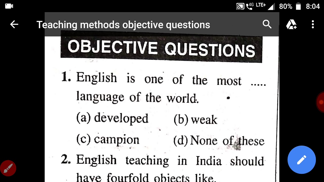 Teaching Methods part-1 Objective Questions - YouTube