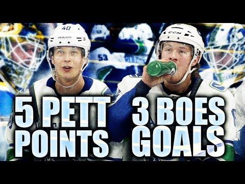 BOESER HAT TRICK & PETTERSSON 5 POINTS AGAIN (Vancouver Canucks DOMINATE St. Louis Blues 6-1) Horvat