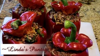 ~big Green Egg Smokey Stuffed Bell Peppers With Linda's Pantry~