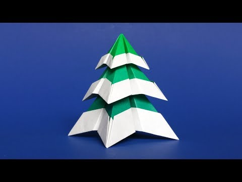 Origami Christmas Tree with Snow 🎄 Easy DIY Paper Christmas Tree Tutorial, Step-by-Step instructions