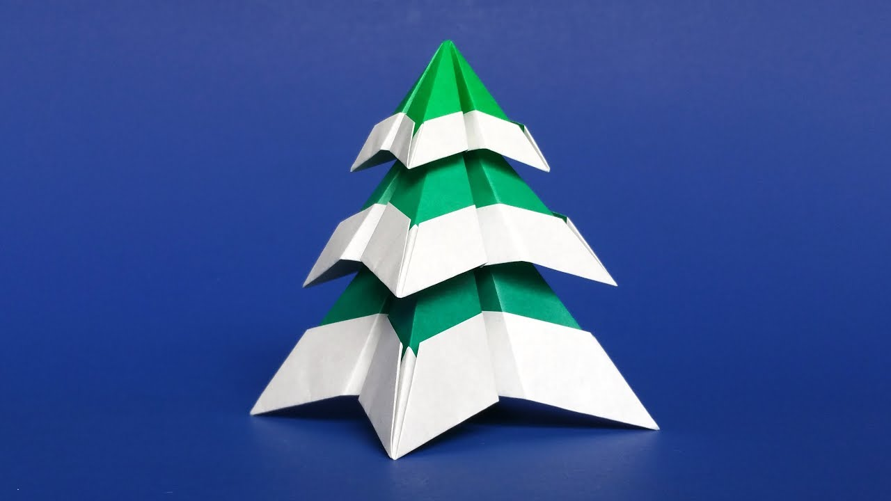 Origami Christmas Tree With Snow Easy DIY Paper Tutorial Step By Instructions