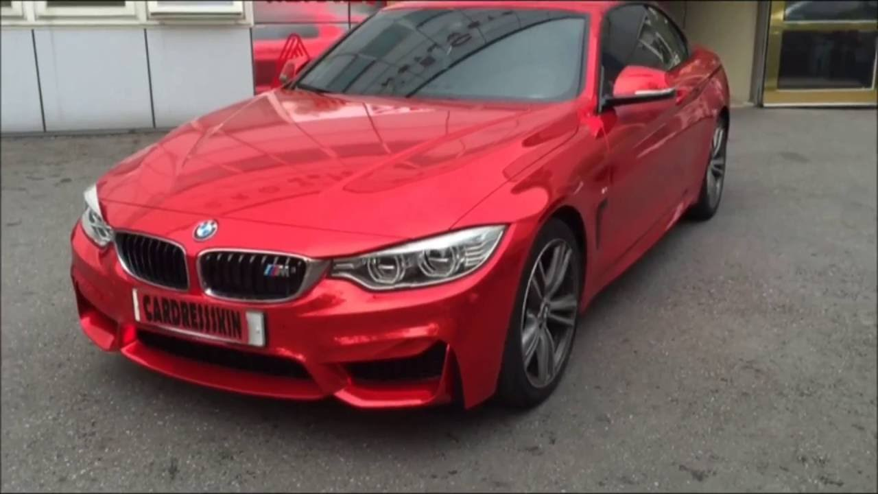 Bmw 428i red chrome verm wrapping youtube for Garage bmw ivry