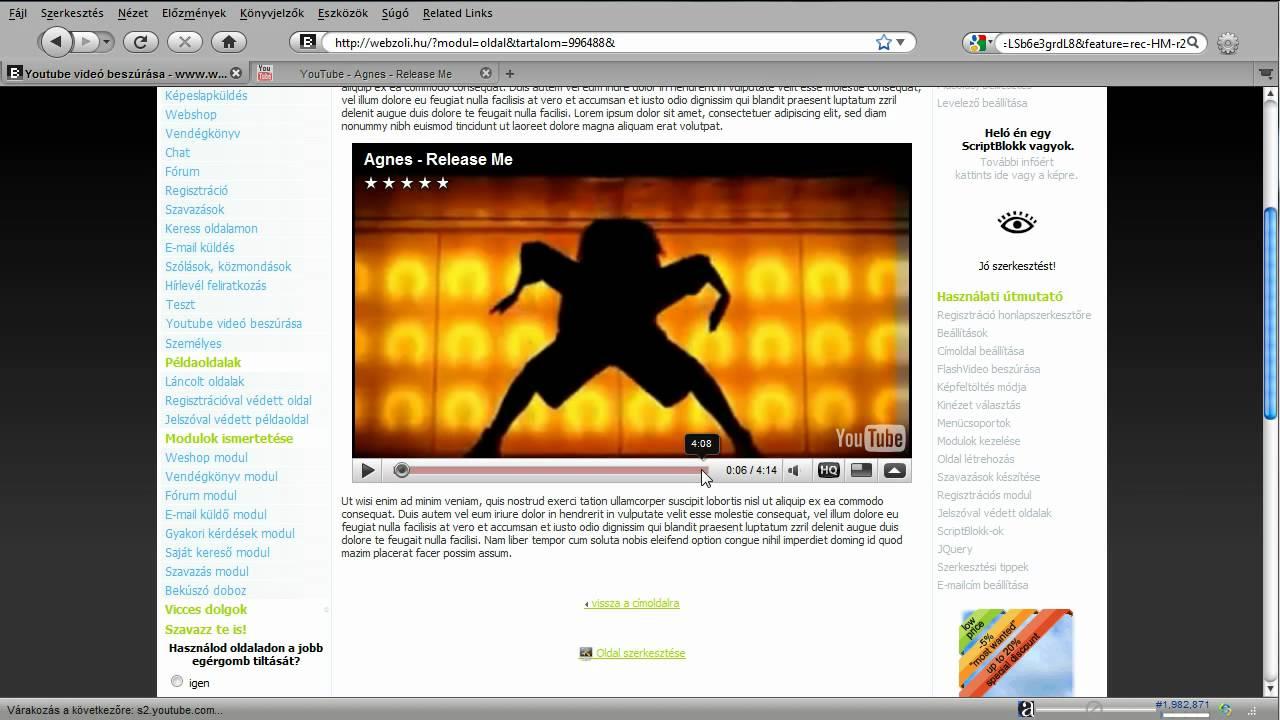 weboldal az internetes bevételekhez és a videó bemutatóhoz
