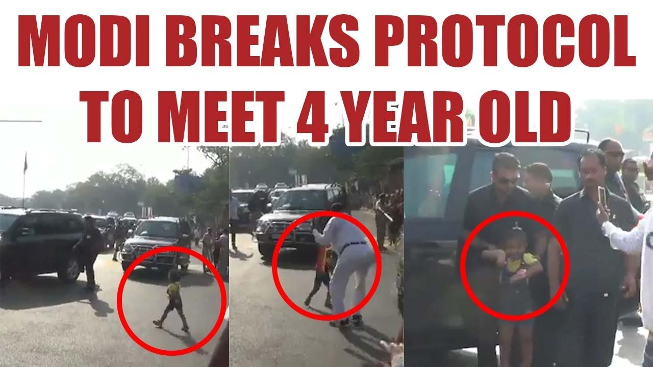 PM Modi breaks security protocol to meet 4 year old fan ...