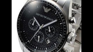 EMPORIO ARMANI AR0585 MENS WATCH SPORTIVO CHRONO SILVER BLACK REVIEW アルマーニ シルバー ブラック レビュー メンズ