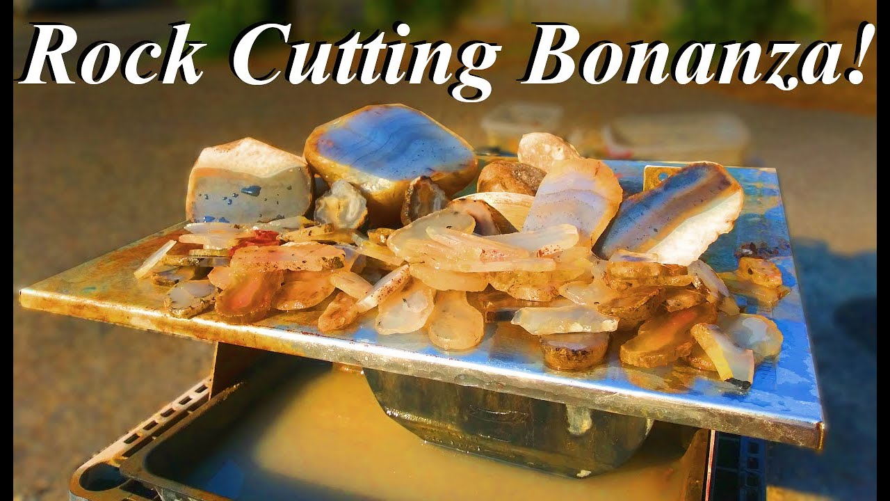 ROCK CUTTING BONANZA! Slabbing a Slew of Montana Agates with Amazing Banding! +Iris Agate Surprise!