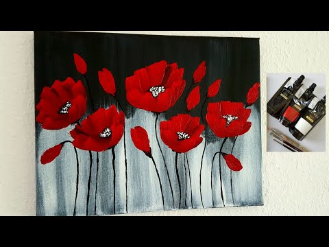 Blumen Malen Acryl Rot für Anfänger - Flowers Acrylic Painting Red for Beginners