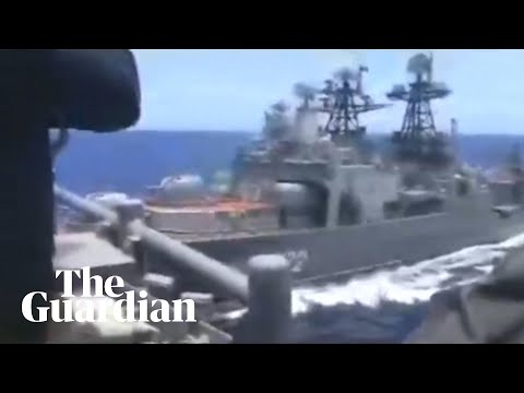 Russian and US warships almost collide in East China Sea