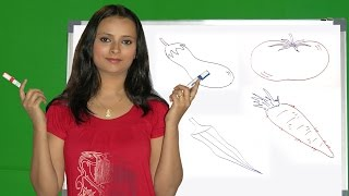 How to Draw Vegetables | How to Draw brinjal, Tomato, Carrot, pumpkin and Ladies Finger