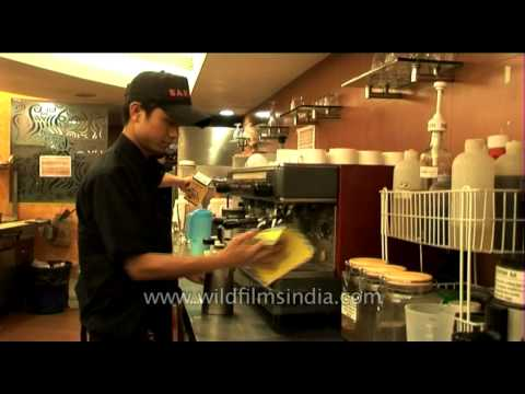 How they make coffee at Cafe Barista in New Delhi!