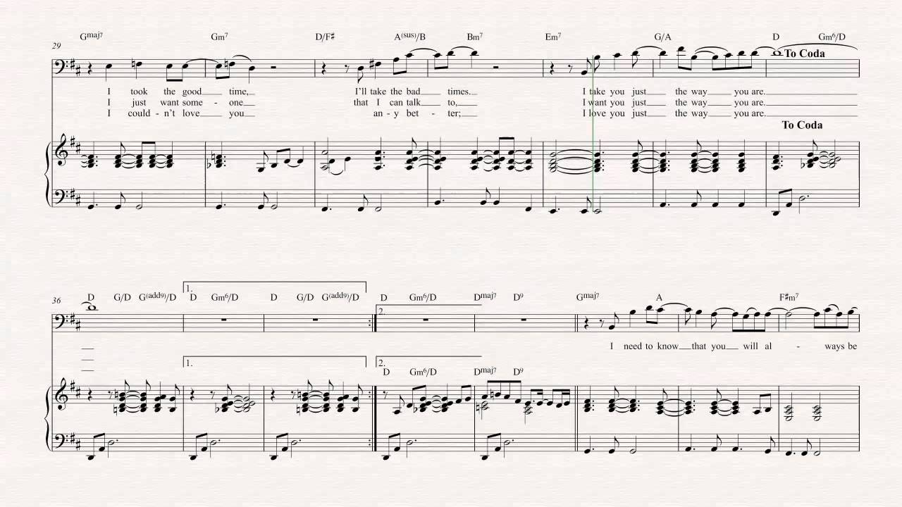 Trombone Just The Way You Are Billy Joel Sheet Music Chords