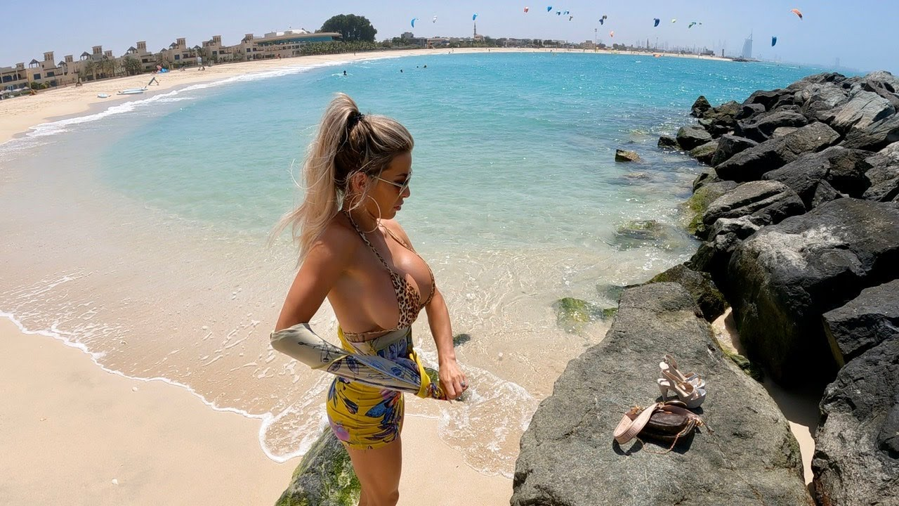 New Leopard Print Bikini! Lets go to the Beach with Autumn Blair 4K Mini Dress Beach walk high heels