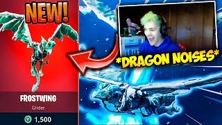 ninja and others react to legendary new dragon glider frostwing fortnite moments - fortnite ice dragon glider