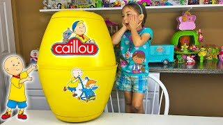 HUGE CAILLOU SURPRISE EGG Fun Surprise Toys Opening Kids Toy Review Unboxing Learning Doll