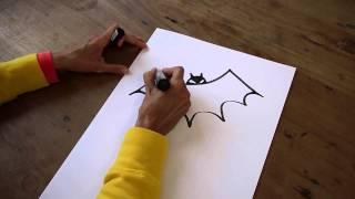 Wie zeichne ich eine Fledermaus und eine Spinne für Halloween? Tutorial