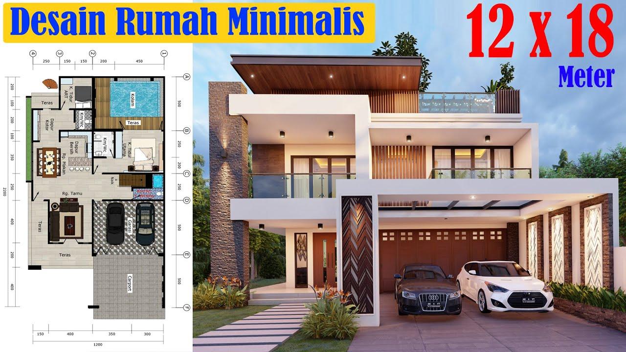 Desain Rumah Mewah 12x18 2 Lantai Dengan Taman Rooftop Dan Kolam Renang Youtube