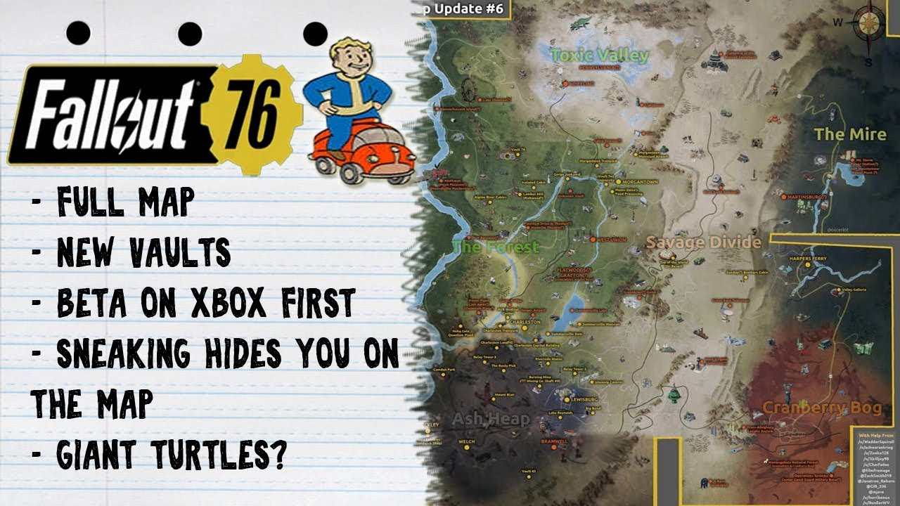Fallout 76 - Full Map | New Vaults | Beta On Xbox One | Turtles?