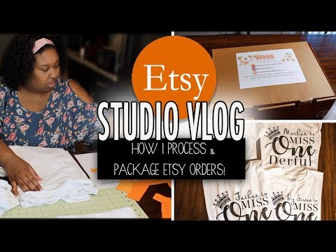 Studio Vlog | How to process and package Etsy orders! Custom t-shirts , stickers and decals thumbnail