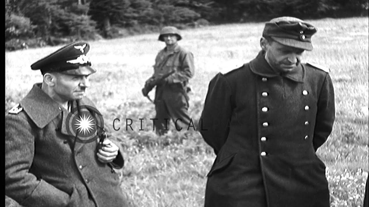 Americans guard German prisoners of war in France during ...