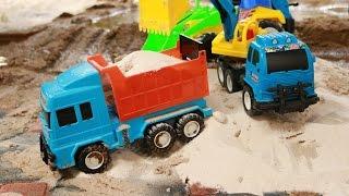 ชวนเด็กๆมาเล่นรถก่อสร้างตักทราย รถแม็คโคร รถดั้ม รถบรรทุก Construction vehicles Truck & Excavator