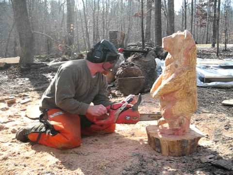 Chainsaw carved bear for christmas by mark poleski youtube