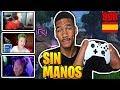 Streamers Reaccionan a Chico  SIN MANOS  Jugando Fortnite (EMOTIVO)