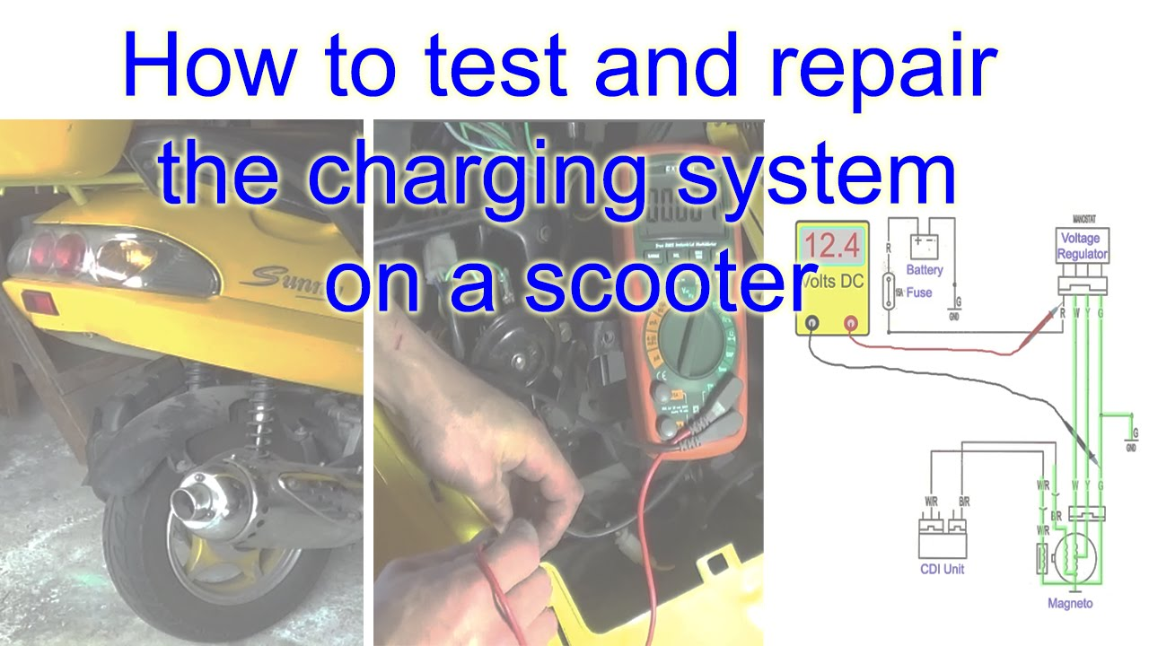 how to test and repair the charging system on a scooter youtube rh youtube com 50Cc Scooter Wiring Diagram for Yamaha 139QMB 50Cc Scooter Wiring Diagram