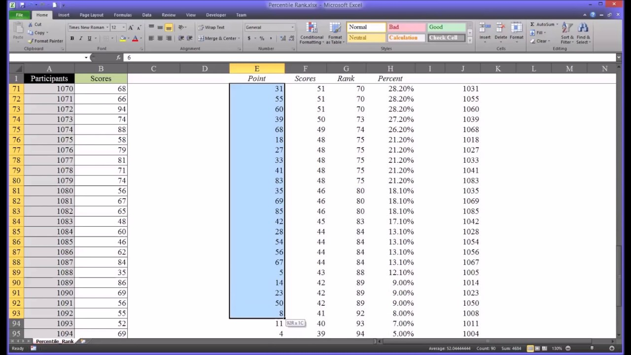 Calculating Percentile Rank Using Excel Show How To Calculate Bmi