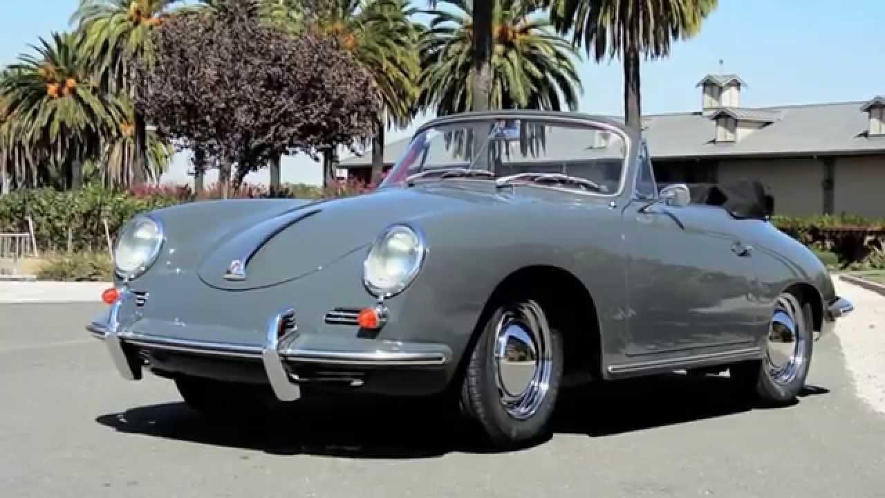 1960 Porsche 356 Cabriolet Slate Grey Red Leather