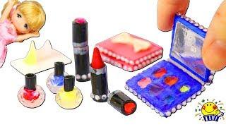 リカちゃん ミキちゃんマキちゃんがミニチュアメイク道具を手作り♡マニキュア、口紅、アイシャドウパレット、メイク落としをDIY♪miniature makeup おもちゃ たまごMammy thumbnail